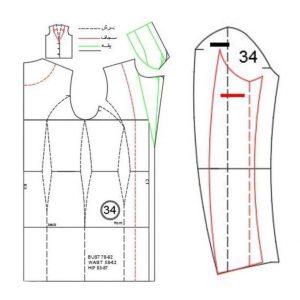 الگوی چاپ شده کت برش عصایی با یقه نگلیسی دو تیکه